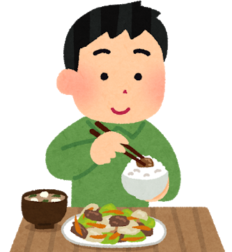 ご飯を食べる男性